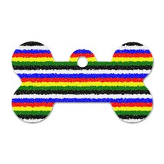 Horizontal Basic Colors Curly Stripes Dog Tag Bone (Two Sided)
