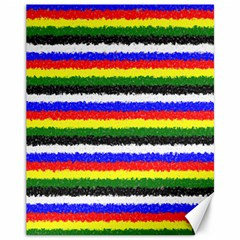 Horizontal Basic Colors Curly Stripes Canvas 11  X 14  (unframed)