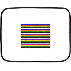 Horizontal Basic Colors Curly Stripes Mini Fleece Blanket (two Sided)