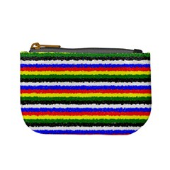 Horizontal Basic Colors Curly Stripes Coin Change Purse