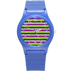 Horizontal Basic Colors Curly Stripes Plastic Sport Watch (small)