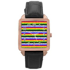 Horizontal Basic Colors Curly Stripes Rose Gold Leather Watch