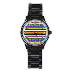 Horizontal Basic Colors Curly Stripes Sport Metal Watch (Black)