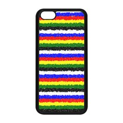 Horizontal Basic Colors Curly Stripes Apple iPhone 5C Seamless Case (Black)