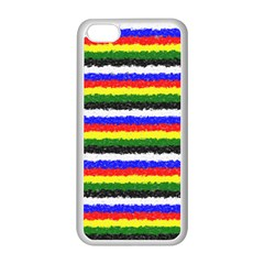 Horizontal Basic Colors Curly Stripes Apple iPhone 5C Seamless Case (White)