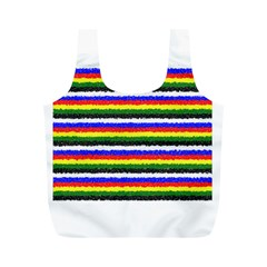 Horizontal Basic Colors Curly Stripes Reusable Bag (M)