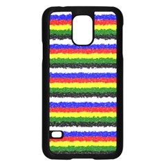 Horizontal Basic Colors Curly Stripes Samsung Galaxy S5 Case (black)