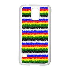 Horizontal Basic Colors Curly Stripes Samsung Galaxy S5 Case (white)