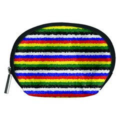 Horizontal Basic Colors Curly Stripes Accessory Pouch (Medium)