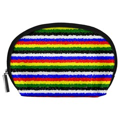 Horizontal Basic Colors Curly Stripes Accessory Pouch (Large)
