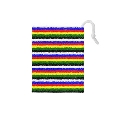 Horizontal Basic Colors Curly Stripes Drawstring Pouch (Small)