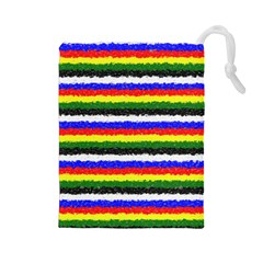 Horizontal Basic Colors Curly Stripes Drawstring Pouch (Large)