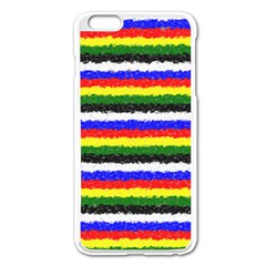 Horizontal Basic Colors Curly Stripes Apple Iphone 6 Plus Enamel White Case