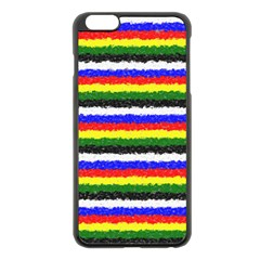 Horizontal Basic Colors Curly Stripes Apple iPhone 6 Plus Black Enamel Case