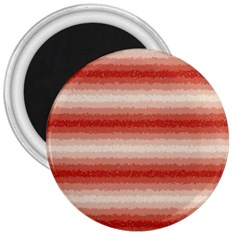 Horizontal Red Curly Stripes 3  Button Magnet