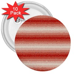 Horizontal Red Curly Stripes 3  Button (10 Pack)