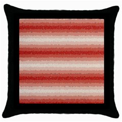 Horizontal Red Curly Stripes Black Throw Pillow Case