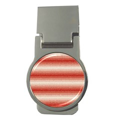 Horizontal Red Curly Stripes Money Clip (round)