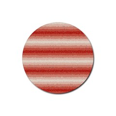 Horizontal Red Curly Stripes Drink Coaster (round)