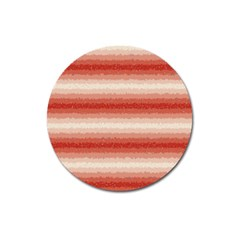 Horizontal Red Curly Stripes Magnet 3  (round)