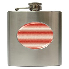 Horizontal Red Curly Stripes Hip Flask