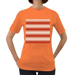 Horizontal Red Curly Stripes Women s T Shirt (colored)