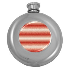 Horizontal Red Curly Stripes Hip Flask (round)