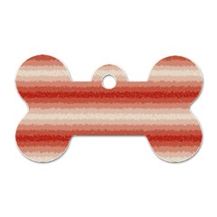 Horizontal Red Curly Stripes Dog Tag Bone (one Sided)
