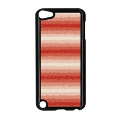 Horizontal Red Curly Stripes Apple Ipod Touch 5 Case (black)