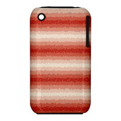 Horizontal Red Curly Stripes Apple Iphone 3g/3gs Hardshell Case (pc+silicone)