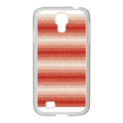 Horizontal Red Curly Stripes Samsung GALAXY S4 I9500/ I9505 Case (White)