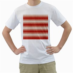 Horizontal Red Curly Stripes Men s T Shirt (white)