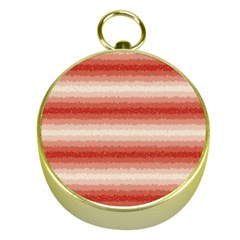 Horizontal Red Curly Stripes Gold Compass