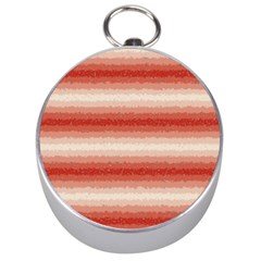 Horizontal Red Curly Stripes Silver Compass