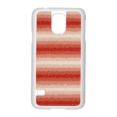Horizontal Red Curly Stripes Samsung Galaxy S5 Case (White)