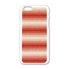 Horizontal Red Curly Stripes Apple iPhone 6 White Enamel Case