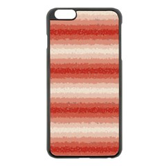 Horizontal Red Curly Stripes Apple iPhone 6 Plus Black Enamel Case