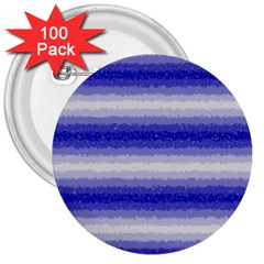 Horizontal Dark Blue Curly Stripes 3  Button (100 pack)