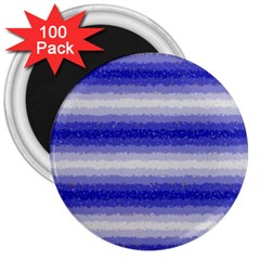 Horizontal Dark Blue Curly Stripes 3  Button Magnet (100 Pack)