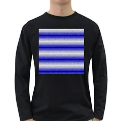 Horizontal Dark Blue Curly Stripes Men s Long Sleeve T-shirt (Dark Colored)