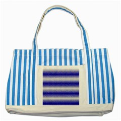 Horizontal Dark Blue Curly Stripes Blue Striped Tote Bag