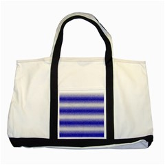 Horizontal Dark Blue Curly Stripes Two Toned Tote Bag