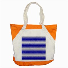 Horizontal Dark Blue Curly Stripes Accent Tote Bag