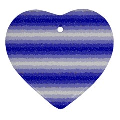 Horizontal Dark Blue Curly Stripes Heart Ornament (Two Sides)