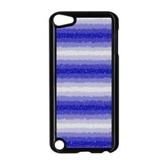 Horizontal Dark Blue Curly Stripes Apple iPod Touch 5 Case (Black)