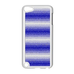 Horizontal Dark Blue Curly Stripes Apple iPod Touch 5 Case (White)