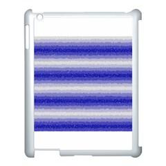 Horizontal Dark Blue Curly Stripes Apple Ipad 3/4 Case (white)