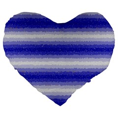 Horizontal Dark Blue Curly Stripes 19  Premium Heart Shape Cushion