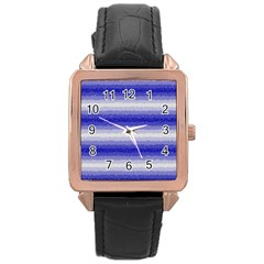 Horizontal Dark Blue Curly Stripes Rose Gold Leather Watch