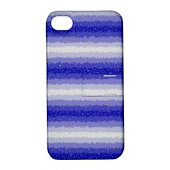 Horizontal Dark Blue Curly Stripes Apple Iphone 4/4s Hardshell Case With Stand